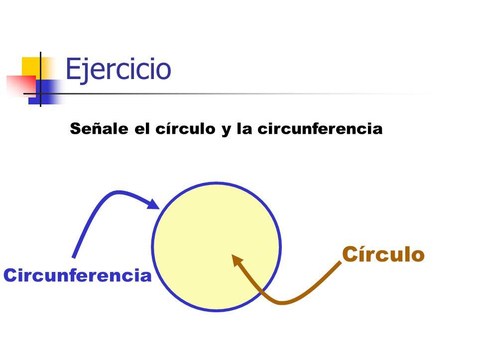 Ejercicio Señale el círculo y la circunferencia Circunferencia Círculo