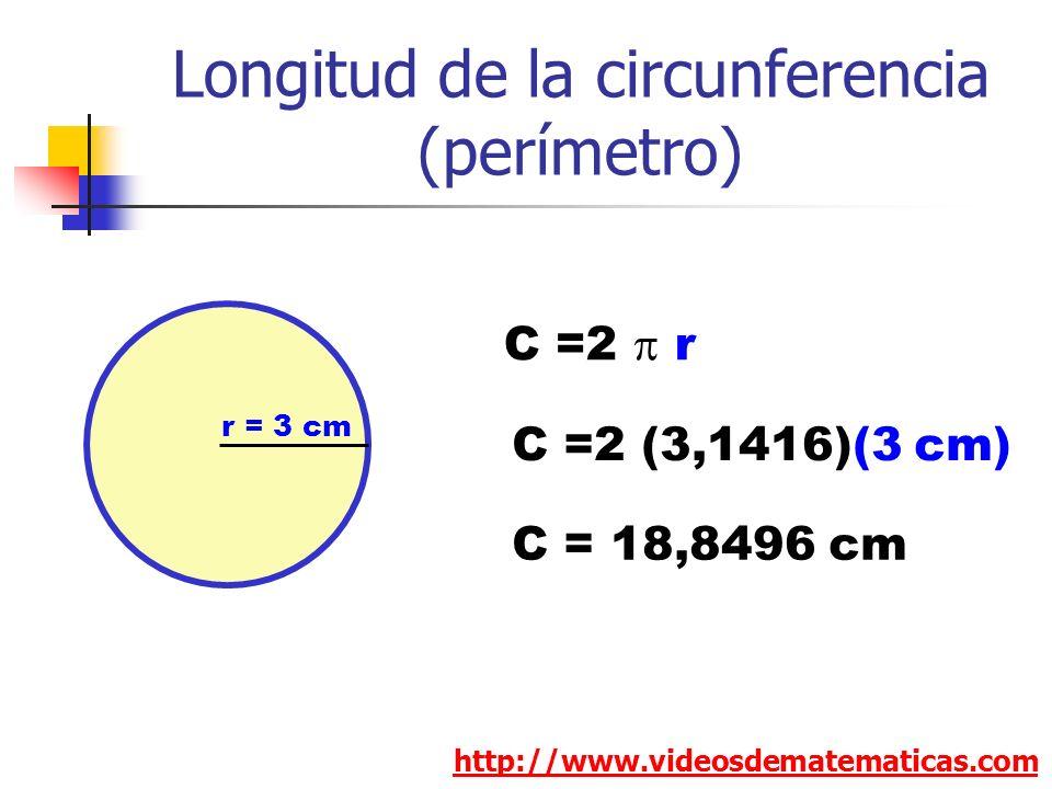 Longitud de la circunferencia (perímetro) http://www.videosdematematicas.com C =2 r r = 3 cm C =2 (3,1416)(3 cm) C = 18,8496 cm