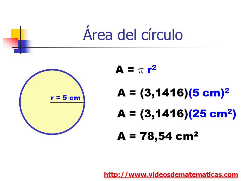 Área del círculo http://www.videosdematematicas.com A = r 2 r = 5 cm A = (3,1416)(5 cm) 2 A = 78,54 cm 2 A = (3,1416)(25 cm 2 )