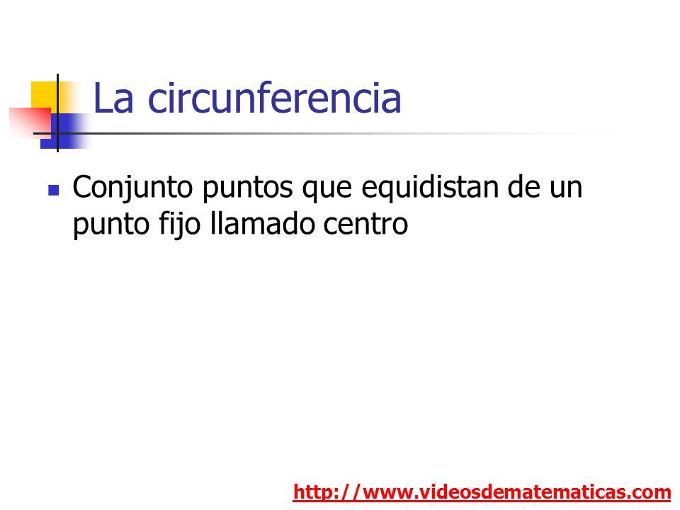 La circunferencia http://www.videosdematematicas.com Conjunto puntos que equidistan de un punto fijo llamado centro