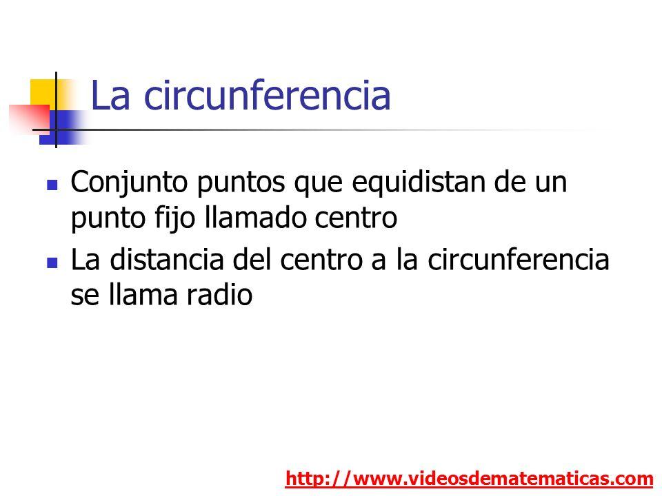 La circunferencia http://www.videosdematematicas.com Conjunto puntos que equidistan de un punto fijo llamado centro La distancia del centro a la circunferencia se llama radio