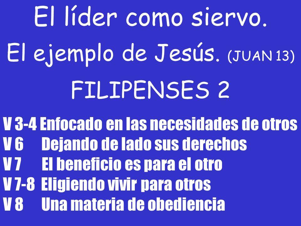 El líder como siervo. El ejemplo de Jesús. (JUAN 13) FILIPENSES 2 V 3-4 Enfocado en las necesidades de otros V 6 Dejando de lado sus derechos V 7 El b