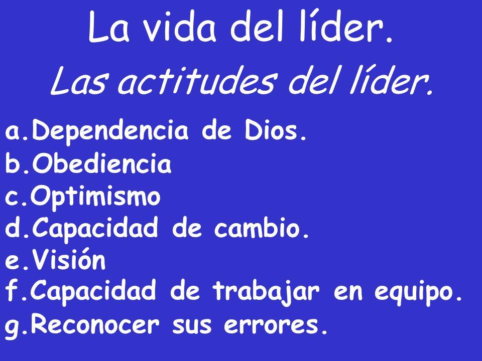 La vida del líder. a.Dependencia de Dios. b.Obediencia c.Optimismo d.Capacidad de cambio. e.Visión f.Capacidad de trabajar en equipo. g.Reconocer sus