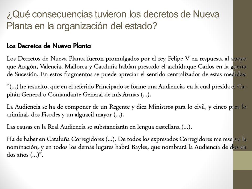 ¿Qué consecuencias tuvieron los decretos de Nueva Planta en la organización del estado?