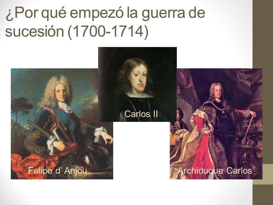 ¿Por qué empezó la guerra de sucesión (1700-1714) Archiduque CarlosFelipe d Anjou Carlos II