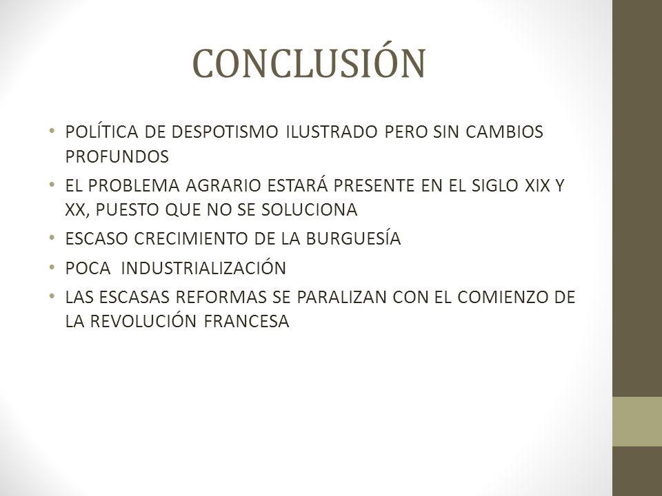 CONCLUSIÓN POLÍTICA DE DESPOTISMO ILUSTRADO PERO SIN CAMBIOS PROFUNDOS EL PROBLEMA AGRARIO ESTARÁ PRESENTE EN EL SIGLO XIX Y XX, PUESTO QUE NO SE SOLUCIONA ESCASO CRECIMIENTO DE LA BURGUESÍA POCA INDUSTRIALIZACIÓN LAS ESCASAS REFORMAS SE PARALIZAN CON EL COMIENZO DE LA REVOLUCIÓN FRANCESA