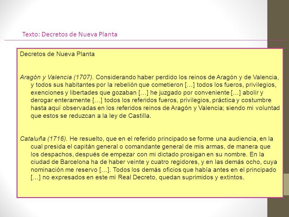 Texto: Decretos de Nueva Planta Decretos de Nueva Planta Aragón y Valencia (1707).