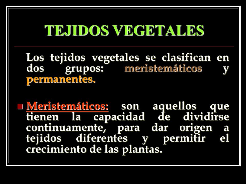 TEJIDOS VEGETALES Los tejidos vegetales se clasifican en dos grupos: meristemáticos y permanentes. Meristemáticos: son aquellos que tienen la capacida