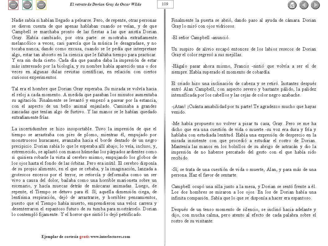 109 El retrato de Dorian Gray de Oscar Wilde Ejemplar de cortesía gratis www.interlectores.com