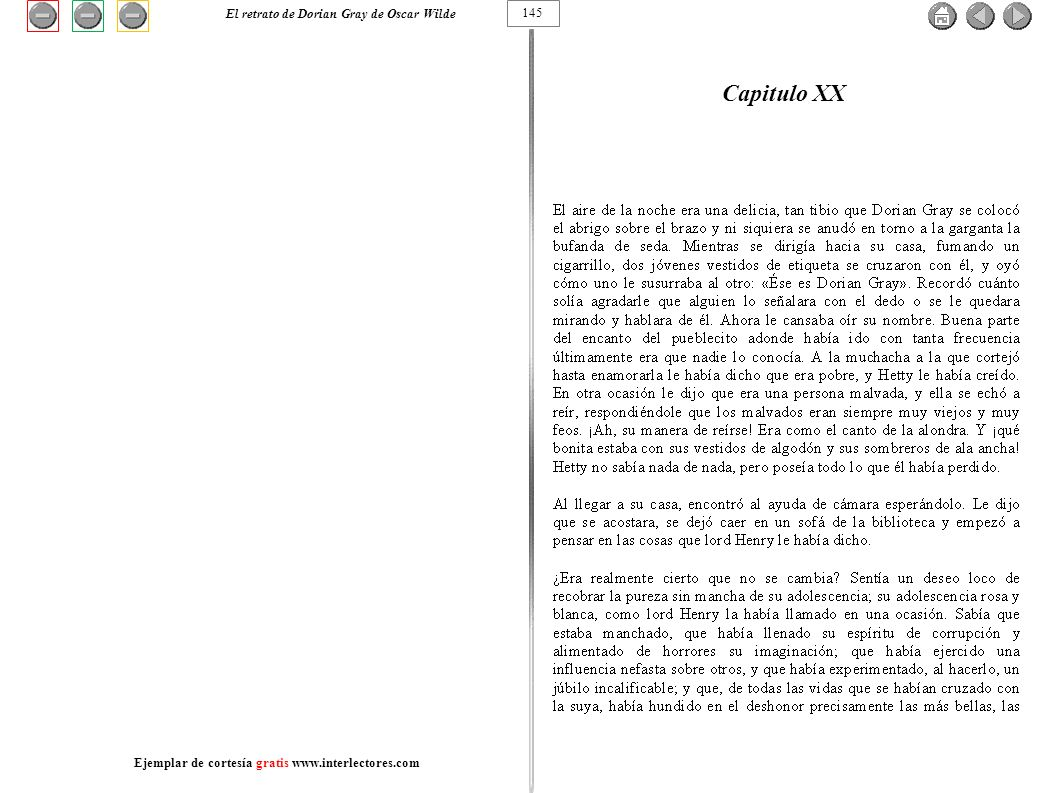 Capitulo XX 145 El retrato de Dorian Gray de Oscar Wilde Ejemplar de cortesía gratis www.interlectores.com