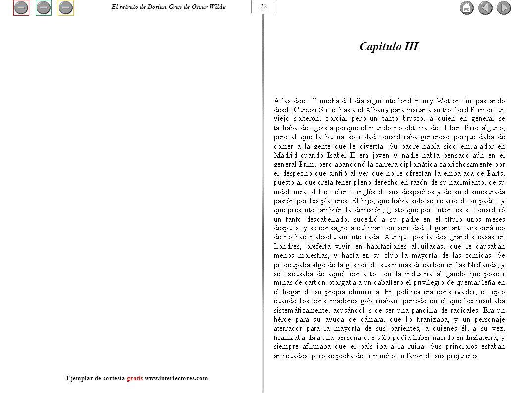 Capitulo III 22 El retrato de Dorian Gray de Oscar Wilde Ejemplar de cortesía gratis www.interlectores.com