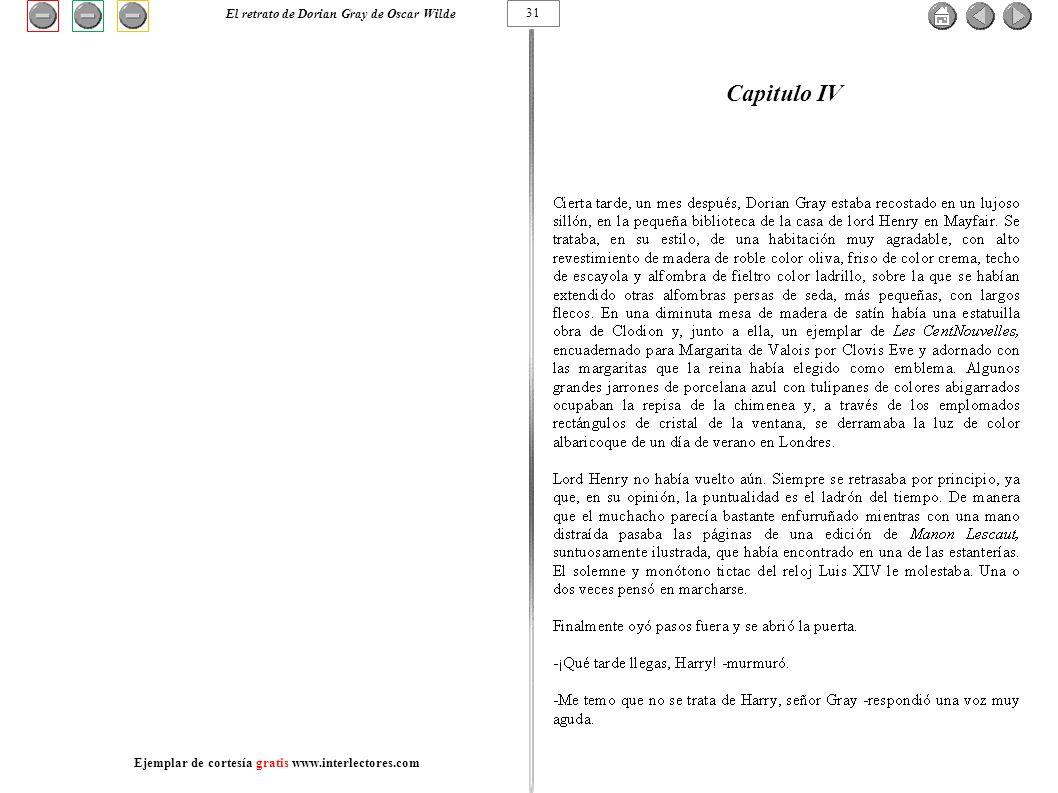 Capitulo IV 31 El retrato de Dorian Gray de Oscar Wilde Ejemplar de cortesía gratis www.interlectores.com