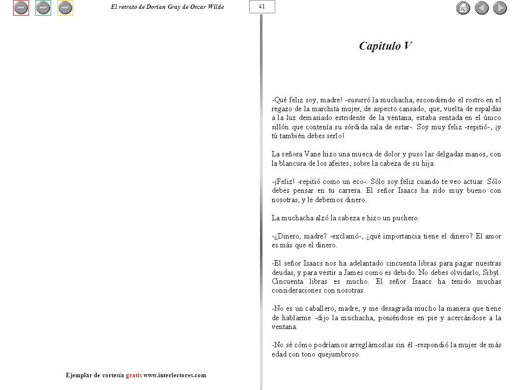 Capitulo V 41 El retrato de Dorian Gray de Oscar Wilde Ejemplar de cortesía gratis www.interlectores.com