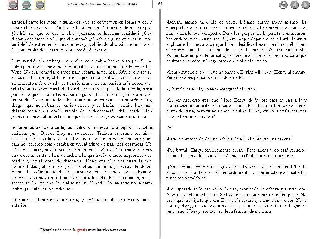 65 El retrato de Dorian Gray de Oscar Wilde Ejemplar de cortesía gratis www.interlectores.com