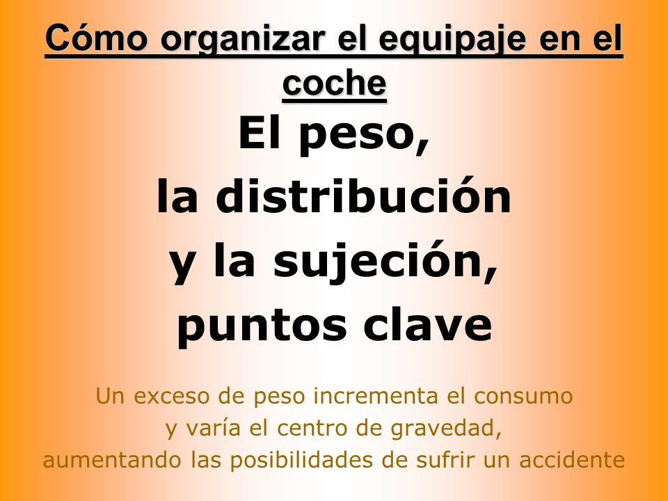 Cómo organizar el equipaje en el coche El peso, la distribución y la sujeción, puntos clave Un exceso de peso incrementa el consumo y varía el centro