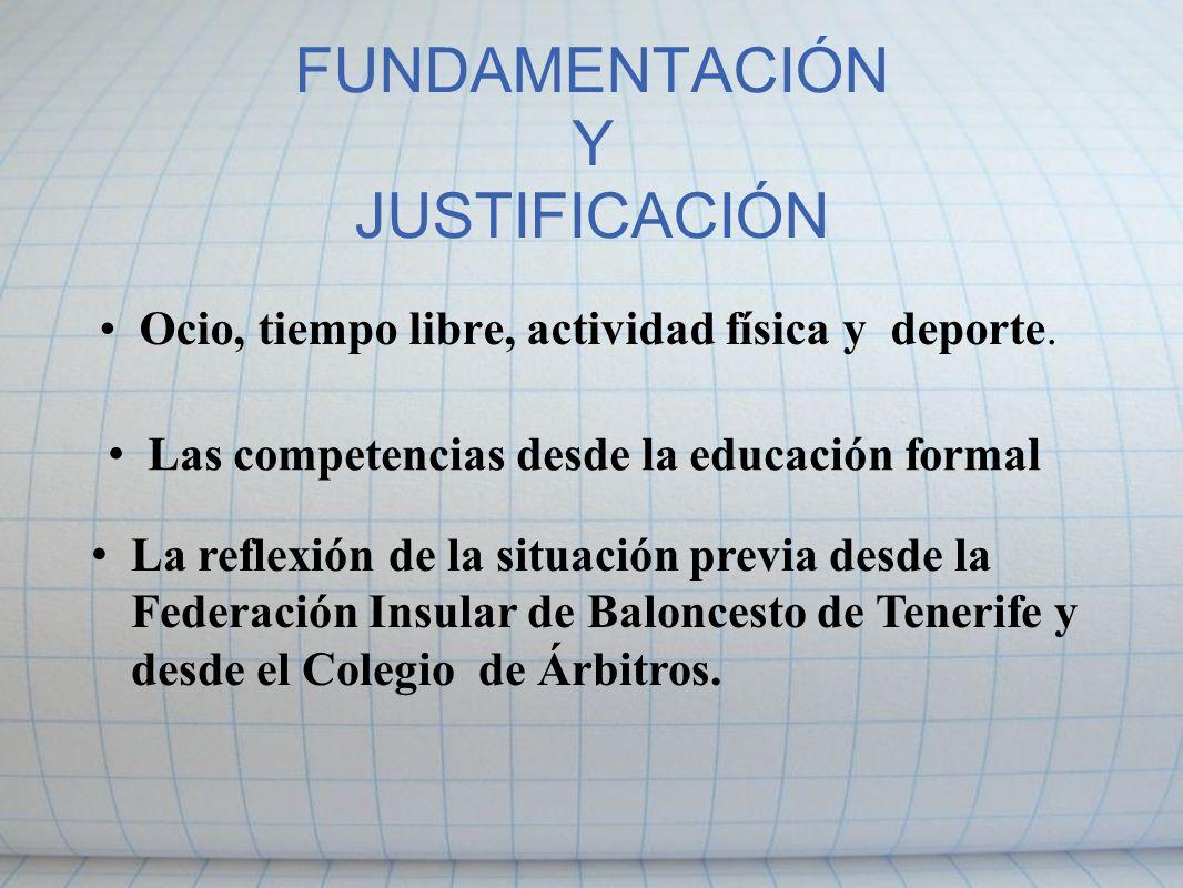 FUNDAMENTACIÓN Y JUSTIFICACIÓN Ocio, tiempo libre, actividad física y deporte. Las competencias desde la educación formal La reflexión de la situación