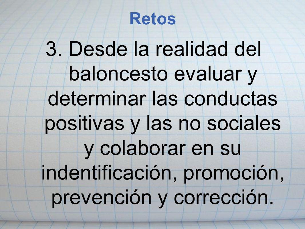 3. Desde la realidad del baloncesto evaluar y determinar las conductas positivas y las no sociales y colaborar en su indentificación, promoción, preve