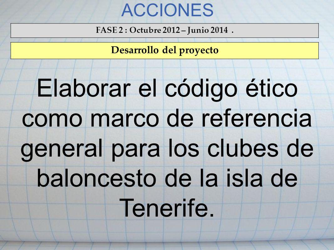 ACCIONES FASE 2 : Octubre 2012 – Junio 2014. Desarrollo del proyecto Elaborar el código ético como marco de referencia general para los clubes de balo