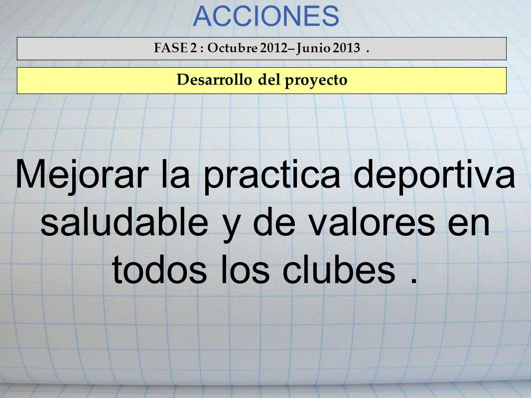 ACCIONES FASE 2 : Octubre 2012 – Junio 2013. Desarrollo del proyecto Mejorar la practica deportiva saludable y de valores en todos los clubes.