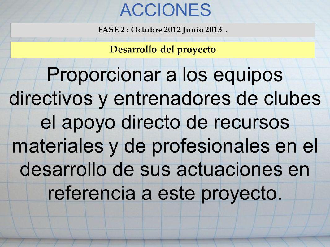 ACCIONES FASE 2 : Octubre 2012 Junio 2013. Desarrollo del proyecto Proporcionar a los equipos directivos y entrenadores de clubes el apoyo directo de