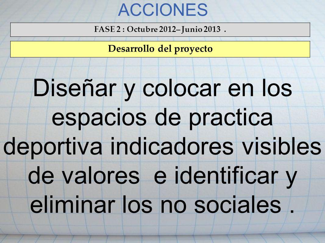 ACCIONES FASE 2 : Octubre 2012 – Junio 2013. Desarrollo del proyecto Diseñar y colocar en los espacios de practica deportiva indicadores visibles de v