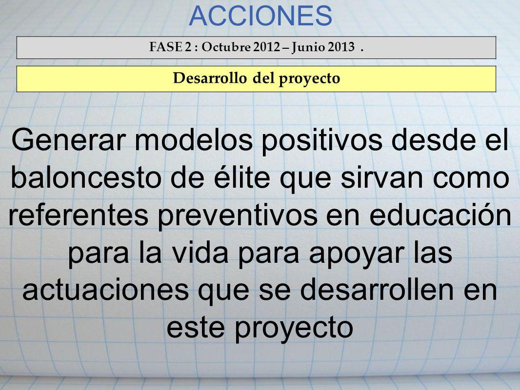 ACCIONES FASE 2 : Octubre 2012 – Junio 2013. Desarrollo del proyecto Generar modelos positivos desde el baloncesto de élite que sirvan como referentes
