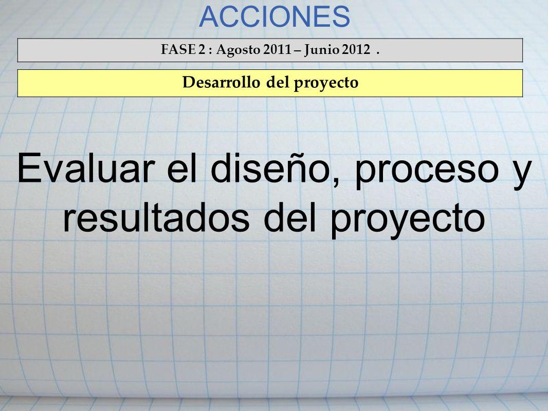 ACCIONES FASE 2 : Agosto 2011 – Junio 2012. Desarrollo del proyecto Evaluar el diseño, proceso y resultados del proyecto