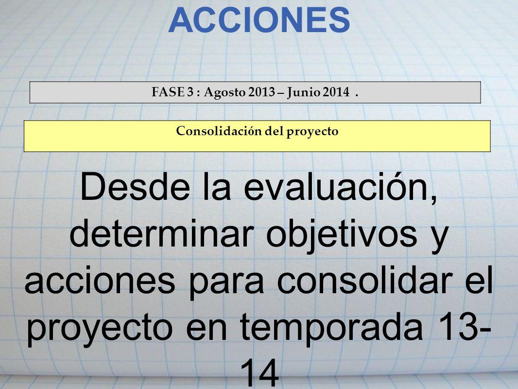 ACCIONES FASE 3 : Agosto 2013 – Junio 2014. Consolidaci ó n del proyecto Desde la evaluación, determinar objetivos y acciones para consolidar el proye