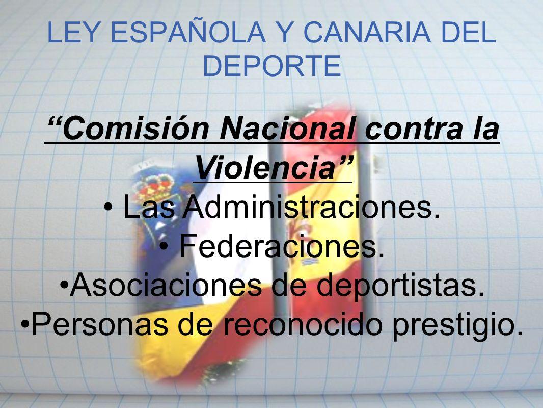 LEY ESPAÑOLA Y CANARIA DEL DEPORTE Comisión Nacional contra la Violencia Las Administraciones. Federaciones. Asociaciones de deportistas. Personas de