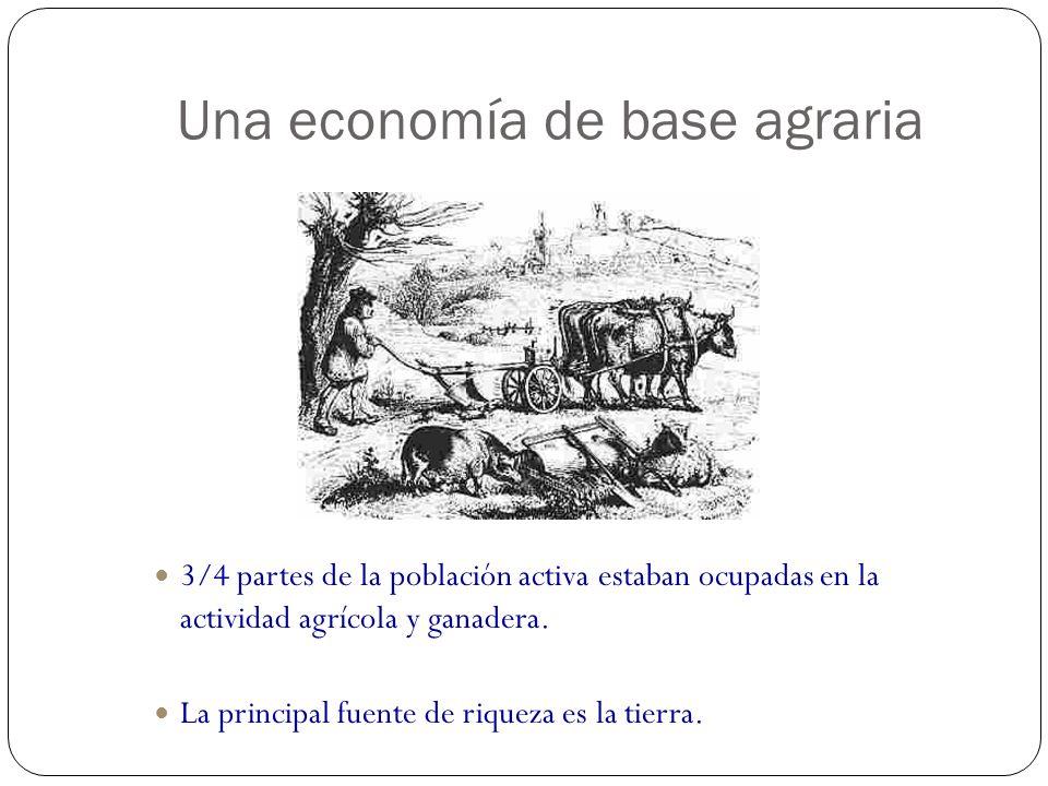 Una economía de base agraria 3/4 partes de la población activa estaban ocupadas en la actividad agrícola y ganadera. La principal fuente de riqueza es