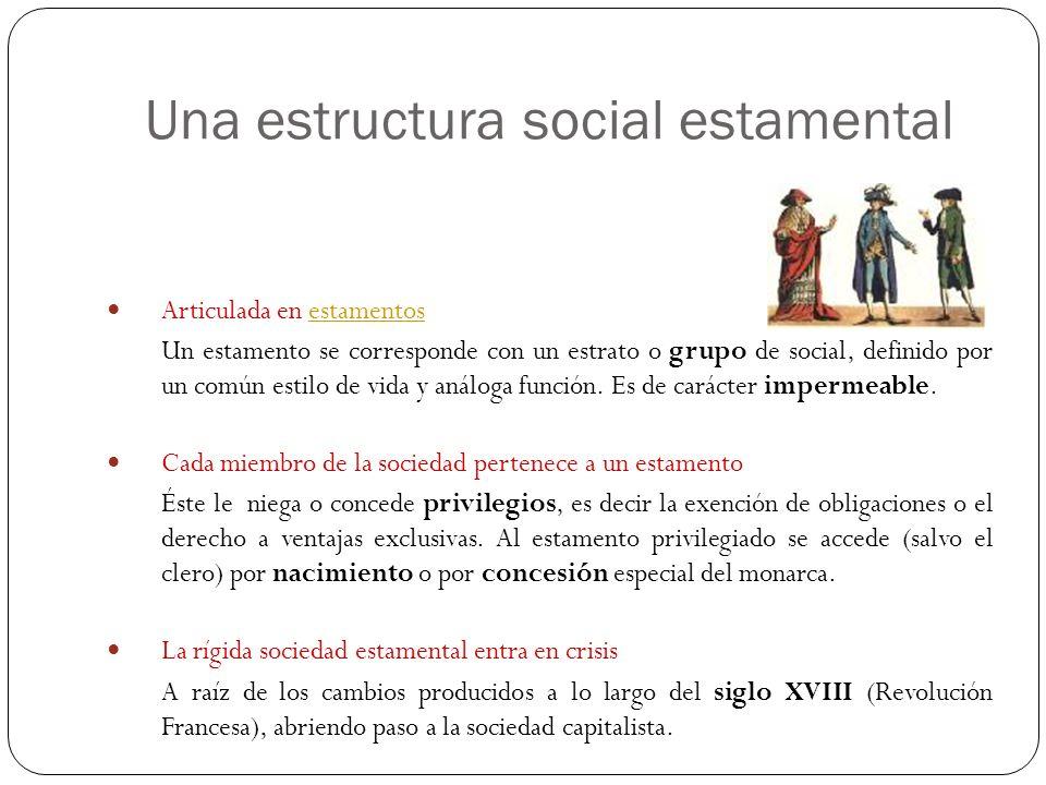 Articulada en estamentosestamentos Un estamento se corresponde con un estrato o grupo de social, definido por un común estilo de vida y análoga funció