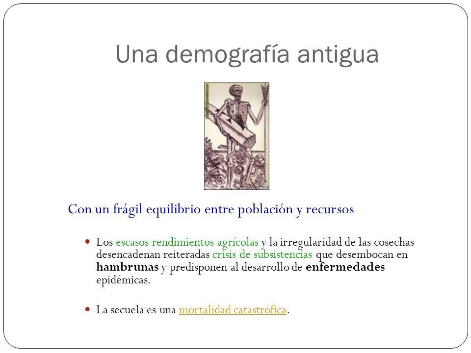 Una demografía antigua Con un frágil equilibrio entre población y recursos Los escasos rendimientos agrícolas y la irregularidad de las cosechas desen