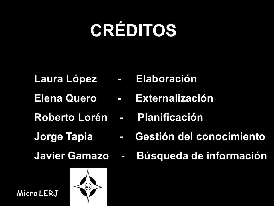 CRÉDITOS Laura López - Elaboración Elena Quero - Externalización Roberto Lorén - Planificación Jorge Tapia - Gestión del conocimiento Javier Gamazo -
