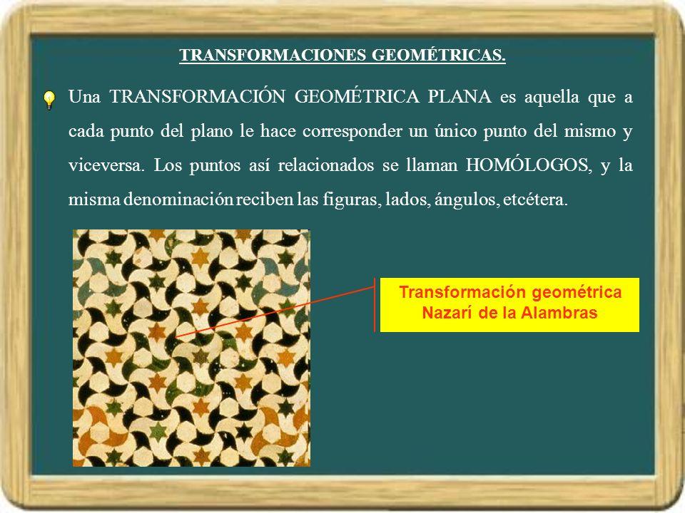 TRANSFORMACIONES GEOMÉTRICAS. Una TRANSFORMACIÓN GEOMÉTRICA PLANA es aquella que a cada punto del plano le hace corresponder un único punto del mismo
