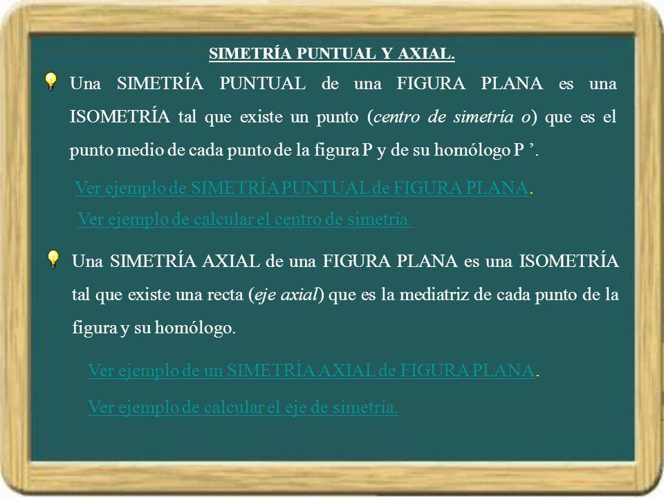 SIMETRÍA PUNTUAL Y AXIAL. Una SIMETRÍA PUNTUAL de una FIGURA PLANA es una ISOMETRÍA tal que existe un punto (centro de simetría o) que es el punto med