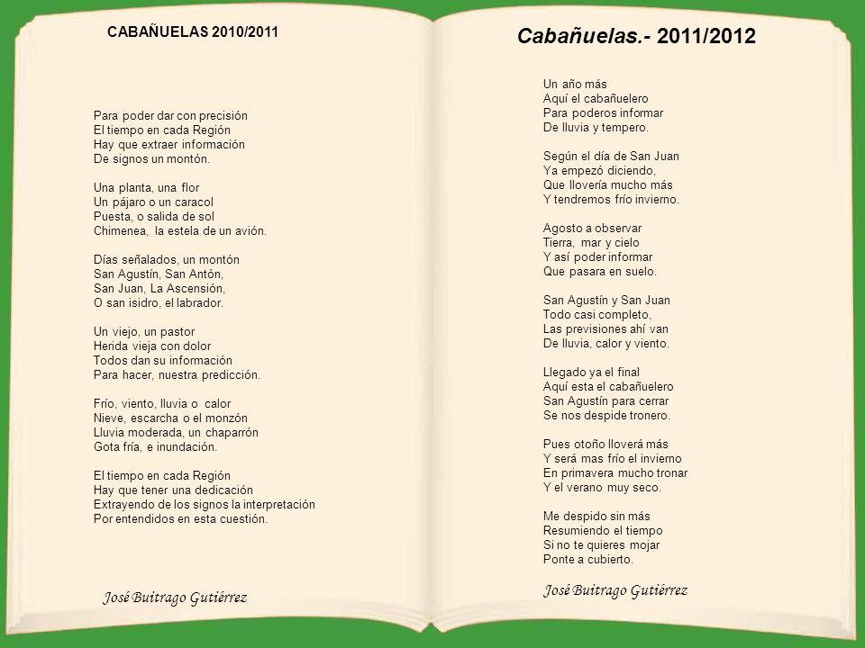 José Buitrago Gutiérrez CABAÑUELAS 2009/2010 Espera un momento Como quien dice espera un poco Demostrar nuestro talento Para muchos ¿es estar loco? Pu