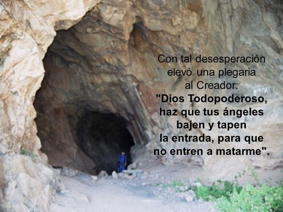 Con tal desesperación elevó una plegaria al Creador: Dios Todopoderoso, haz que tus ángeles bajen y tapen la entrada, para que no entren a matarme .