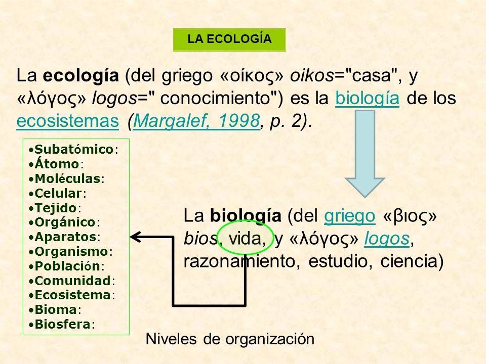 LA ECOLOGÍA La ecología (del griego «οίκος» oikos= casa , y «λóγος» logos= conocimiento ) es la biología de los ecosistemas (Margalef, 1998, p.