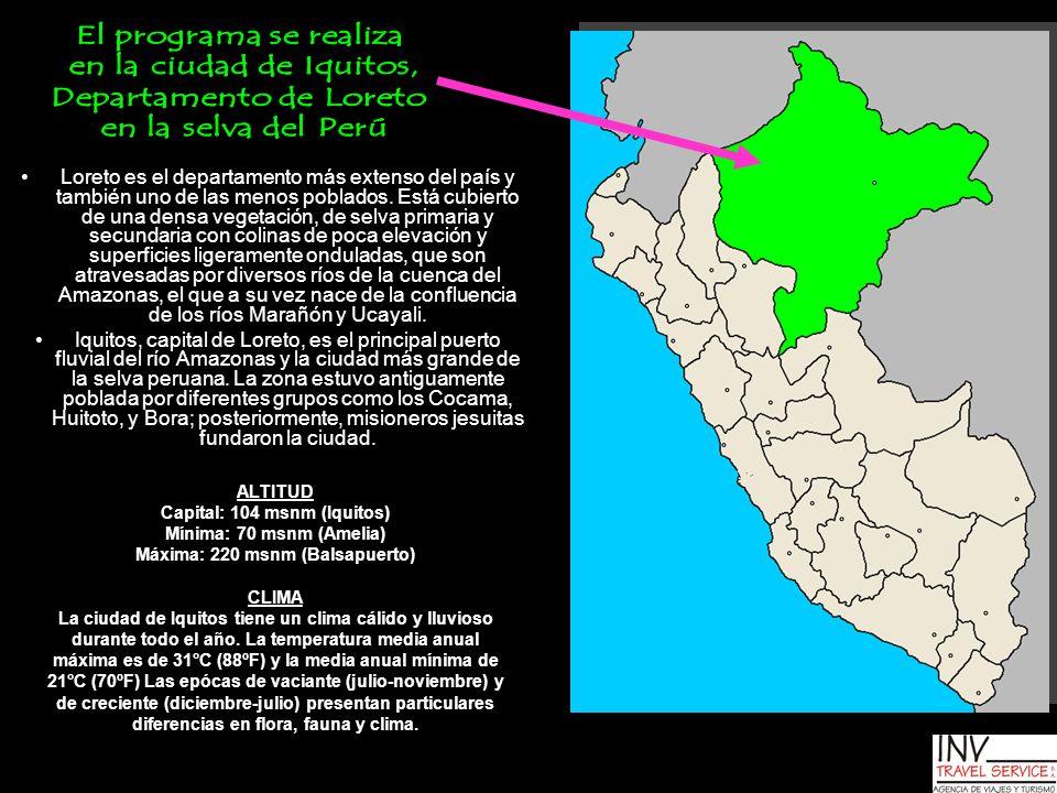 Loreto es el departamento más extenso del país y también uno de las menos poblados. Está cubierto de una densa vegetación, de selva primaria y secunda