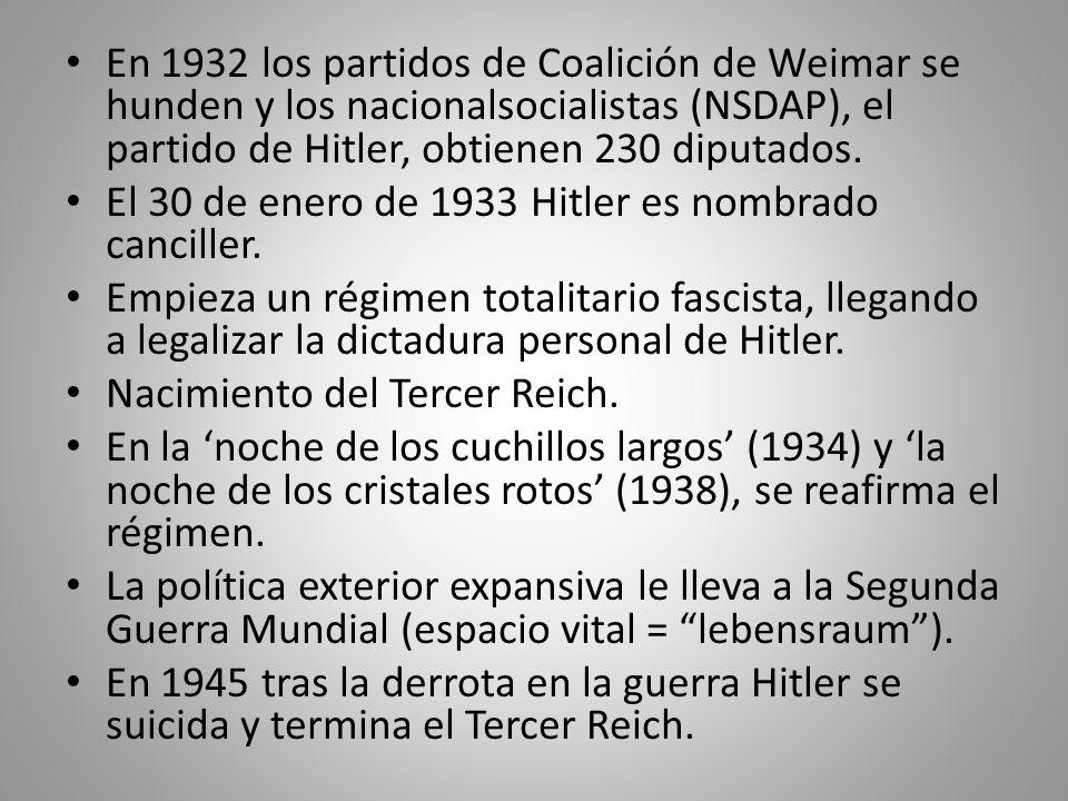 En 1932 los partidos de Coalición de Weimar se hunden y los nacionalsocialistas (NSDAP), el partido de Hitler, obtienen 230 diputados. El 30 de enero
