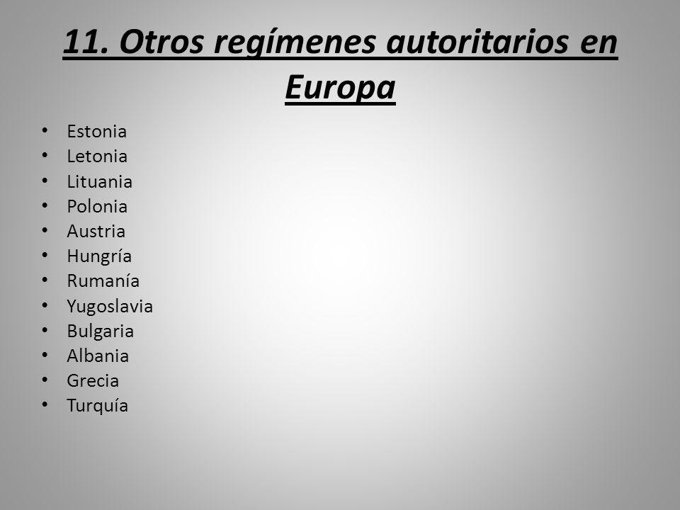 11. Otros regímenes autoritarios en Europa Estonia Letonia Lituania Polonia Austria Hungría Rumanía Yugoslavia Bulgaria Albania Grecia Turquía