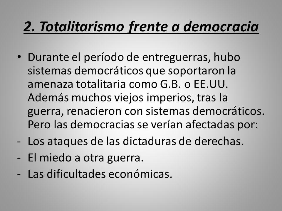 2. Totalitarismo frente a democracia Durante el período de entreguerras, hubo sistemas democráticos que soportaron la amenaza totalitaria como G.B. o