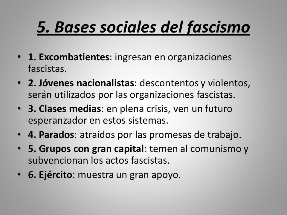 5. Bases sociales del fascismo 1. Excombatientes: ingresan en organizaciones fascistas. 2. Jóvenes nacionalistas: descontentos y violentos, serán util