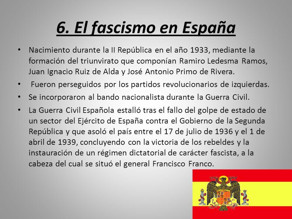 6. El fascismo en España Nacimiento durante la II República en el año 1933, mediante la formación del triunvirato que componían Ramiro Ledesma Ramos,