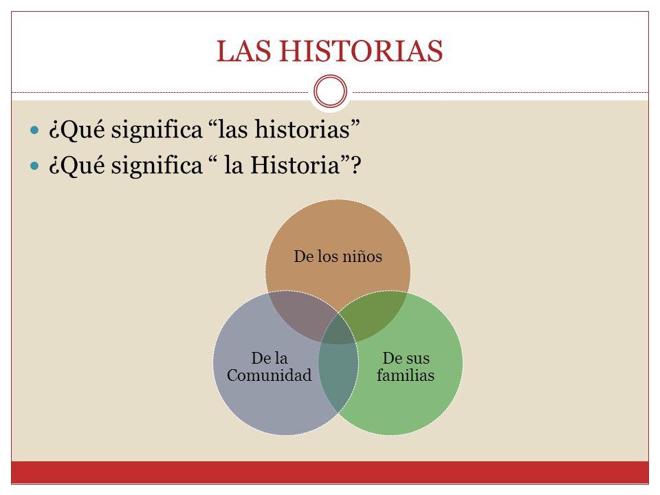 LAS HISTORIAS ¿Qué significa las historias ¿Qué significa la Historia.