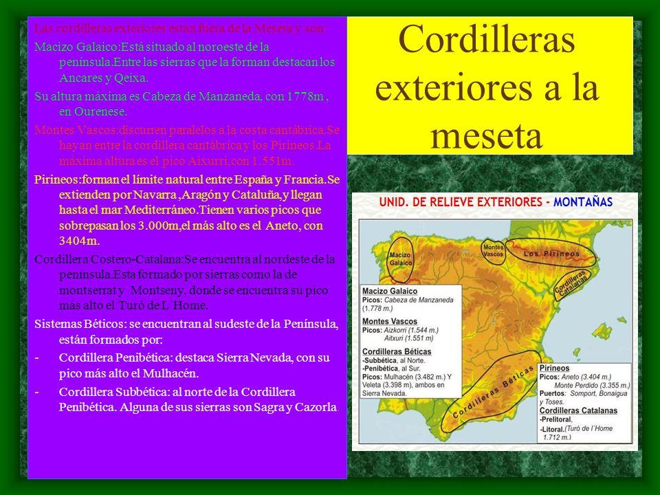 Cordilleras exteriores a la meseta Las cordilleras exteriores están fuera de la Meseta y son: Macizo Galaico:Está situado al noroeste de la península.Entre las sierras que la forman destacan los Ancares y Qeixa.