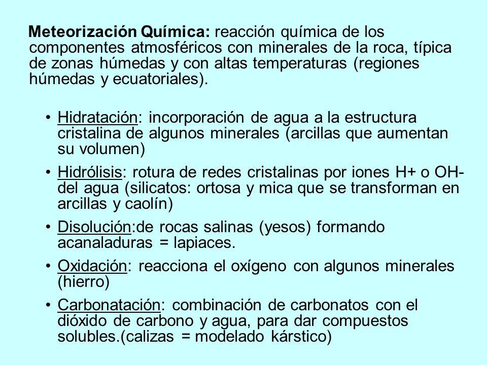 Meteorización Química: reacción química de los componentes atmosféricos con minerales de la roca, típica de zonas húmedas y con altas temperaturas (regiones húmedas y ecuatoriales).