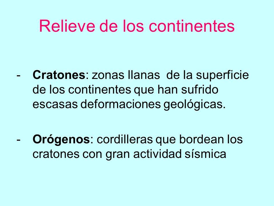Relieve de los continentes -Cratones: zonas llanas de la superficie de los continentes que han sufrido escasas deformaciones geológicas.