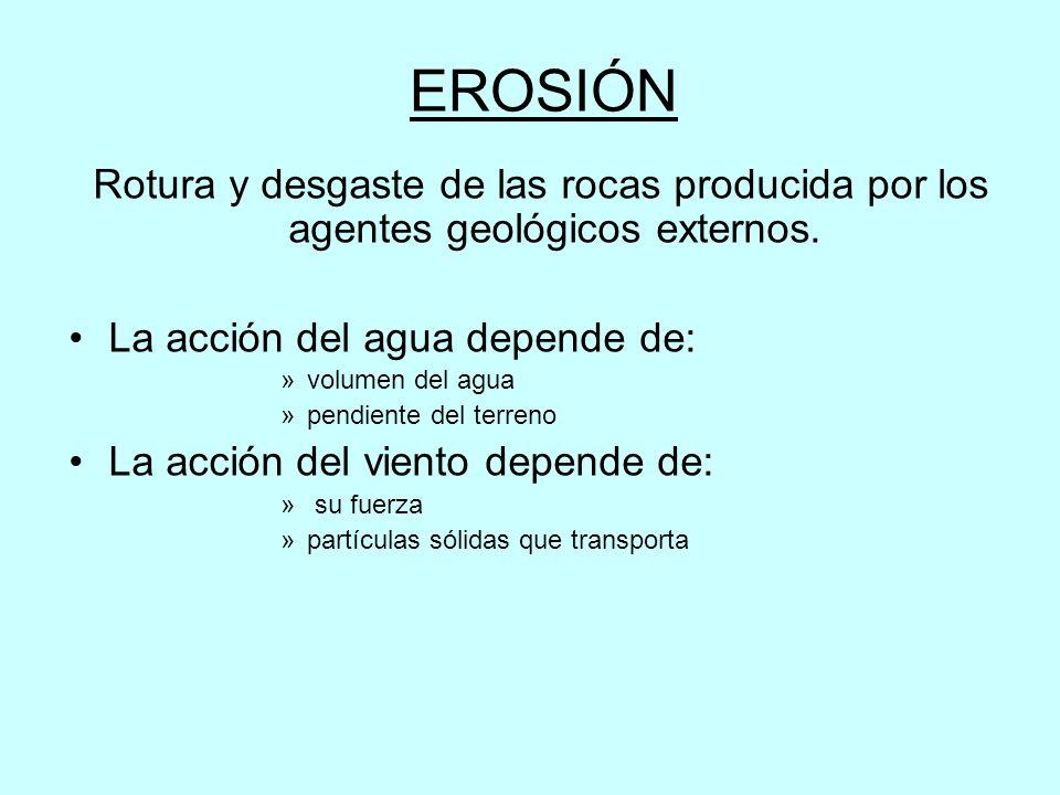 EROSIÓN Rotura y desgaste de las rocas producida por los agentes geológicos externos.