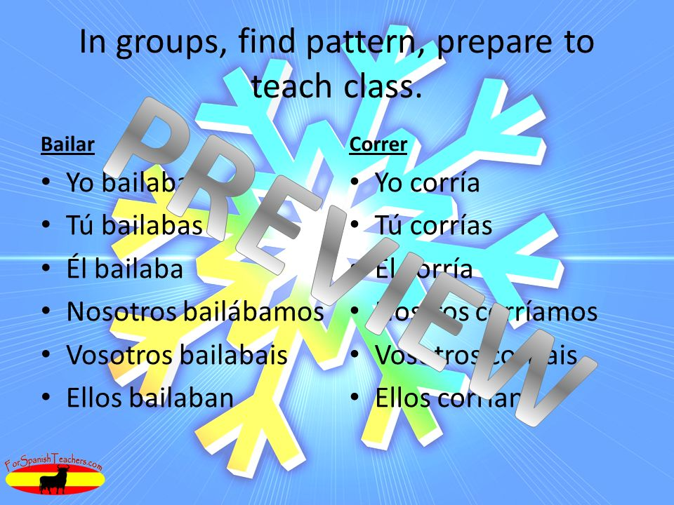In groups, find pattern, prepare to teach class.